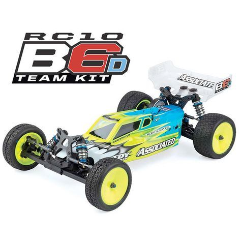 Associated RC10B6D Team Kit. The 1/10, 2WD RC10B6D Team Kit is the perfect platform for podium placement, and it's packed with features that make it ideal for dirt racing. Highlights include a hard-anodized aluminum pocketed chassis, a 3-gear standup Stealth transmission, carbon fiber shock towers and flat front arms with three shock mounting positions, Big Bore threaded aluminum shocks and much, much more.