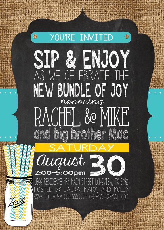 SIP N SEE Burlap Chalkboard MolsDesigns - Our invitation