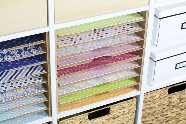 Praktische Storage Idee für Scrapbook- und Kunstpapier im Ikea Expedit Regal