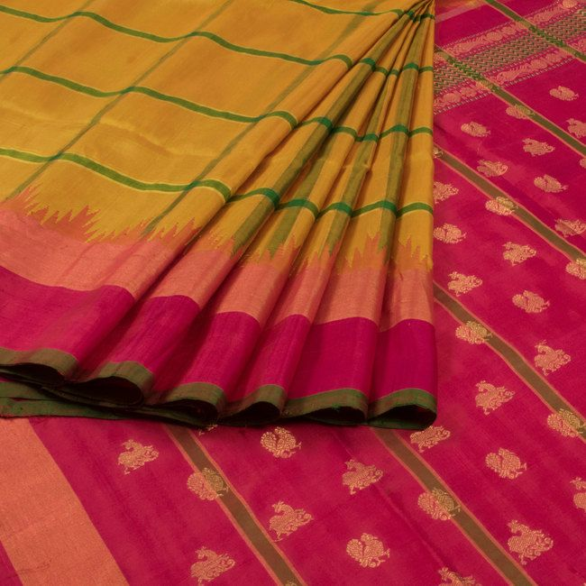 Venkie Reddy Handwoven Gadwal Kuttu Silk Saree with Checks & Temple Border 10007862 - AVISHYA.COM