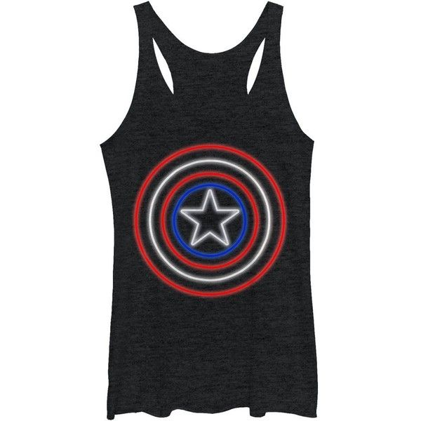 Marvel Captain America Shield Neon Light Womens Graphic Racerback Tank (28 BRL) ❤ liked on Polyvore featuring tops, racerback camisole tank, cami tank, racer back tank, racer back cami and graphic tank tops