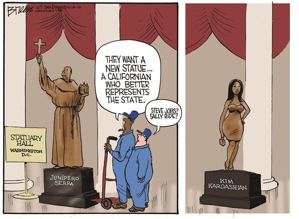 Kim Kardashian Statue © Steve Breen,The San Diego Union Tribune,kim kardashian,statue,california,junipero serra,steve jobs,sally ride