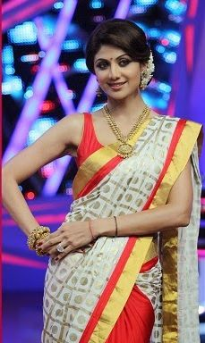 Shilpa Shetty in beautiful white and red designer half and half saree on Nach…
