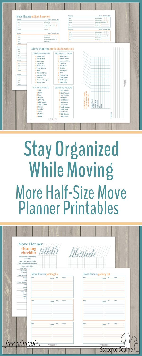 Moving can be a very chaotic time. A move planner is a great way to help stay organized during your move. Use these free printables to make your own.