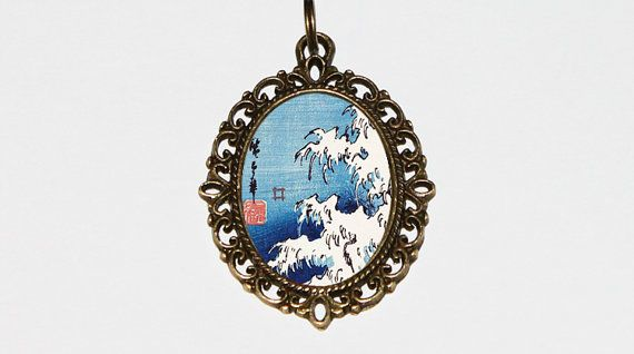 Waves Necklace, Ocean Jewelry, Japanese, Woodblock Art, Sea, Beach, Wave, Ukiyo-e, Oval Pendant