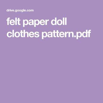 felt paper doll clothes pattern pdf felt doll clos pinterest
