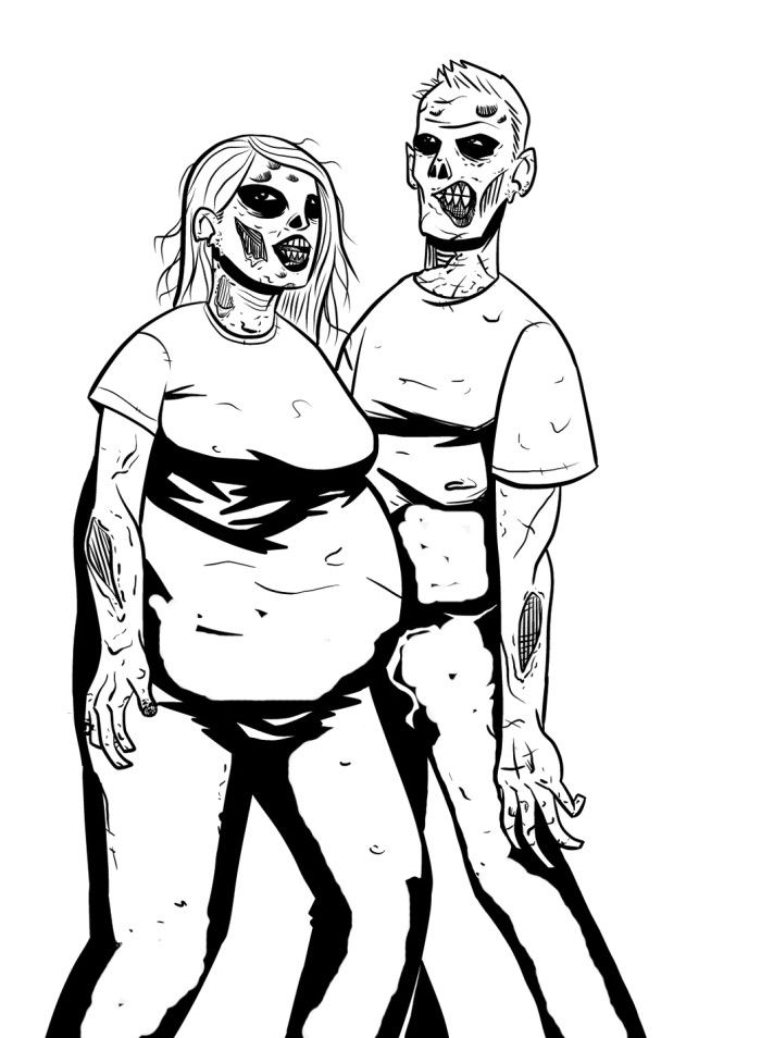 Two Evil Zombie Coloring Pages | Zombie coloring ...