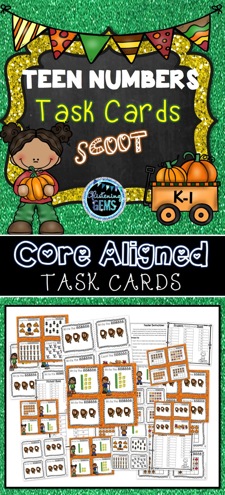 Teen Numbers Task Cards - Fall Themed - K-1 Core Aligned
