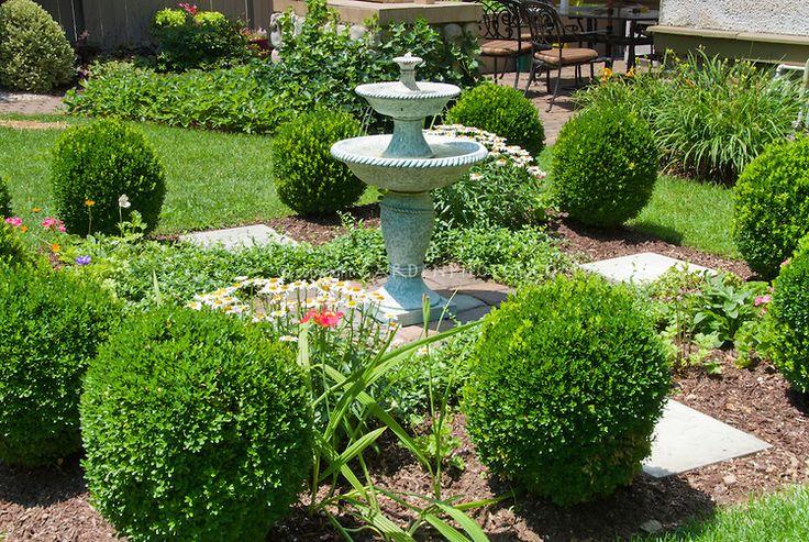 garden scenes | English formal style garden scene with house, double bird bath water ...