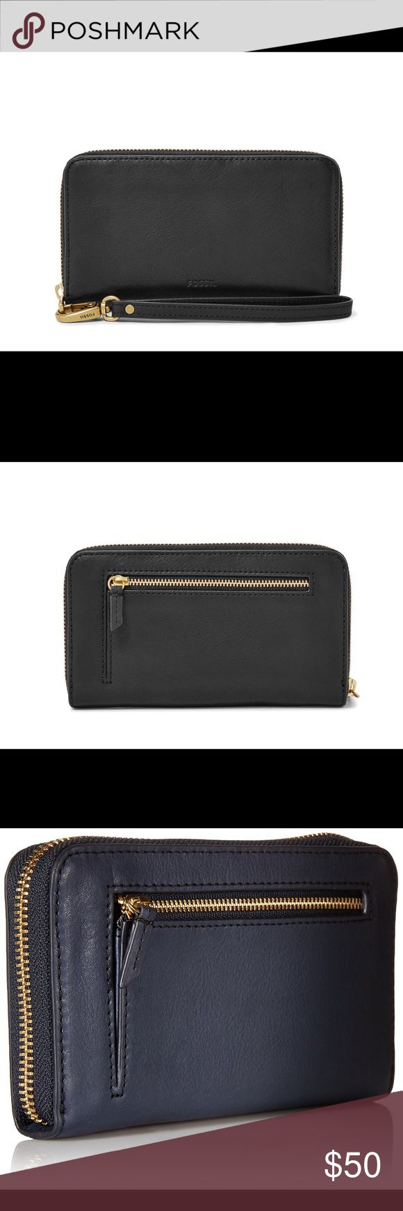 """FOSSIL SMARTPHONE WRISTLET ZIP AROUND WALLET ❤PRICE IS FIRM ❤.                                                            NWT Fossil Emma Smartphone Wristlet. Will hold iPhone 6s, iPhone 7 in cases and other phones the same size or smaller. Color: Black Material: Leather . Zip Around . Interior: Middle zipper compartment, cash slots, 3 RFID protected card slots. Exterior coin pocket . Gold tone hardware details . Measurements: 7"""" L 4""""H. Retail: $75. Fossil Bags Clutches & Wristlets"""