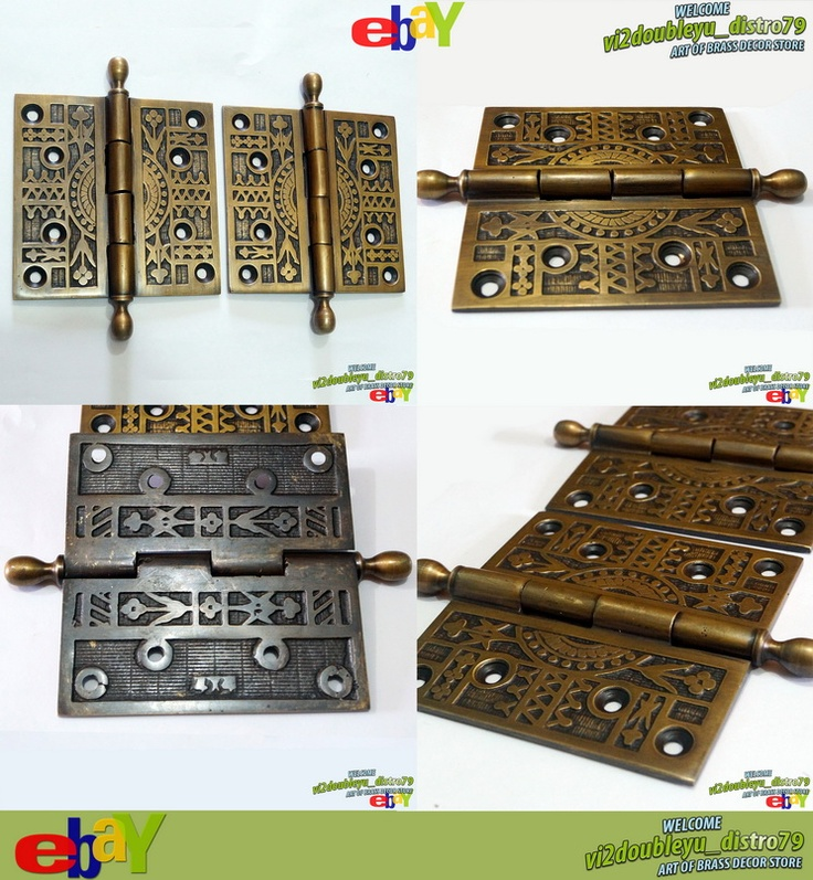 ANTIQUE VINTAGE Solid Brass Large Door HINGES DECORATIVE & ENGRAVED RAR unused MINT and GREAT GIFT for your door and home decor. #flayer #Hinges #Brass #Antique #Vintage #Home_decor