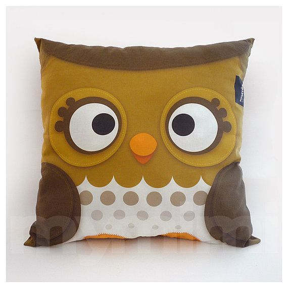 "16 x 16"" Pillow, Owl Pillow, Forest Owl, Decorative Pillow, Woodland Animal, Cushion, Owl Decor, Room Decor, Baby Bedroom, Animal Nursery"
