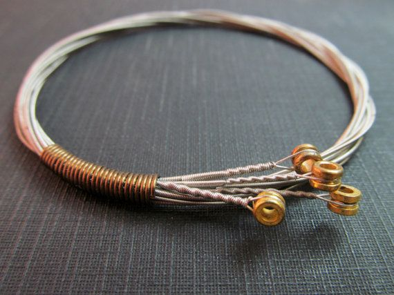 Guitar String Bracelet  // Stackable Guitar by TheChestnutForge, $22.00