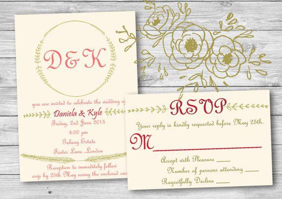 Elegant Pink & Gold  Custom Made Invite  RSVP by SansDesignDeck