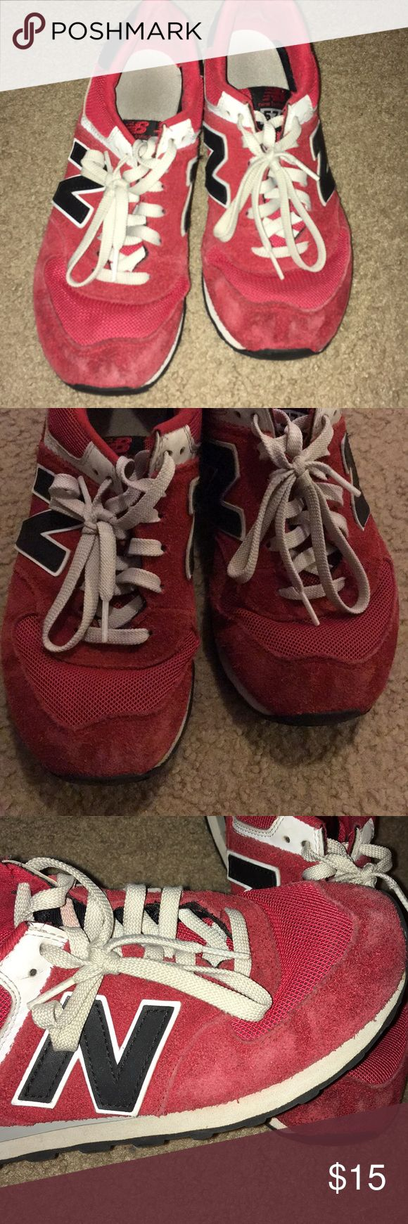 Used New Balance Red Sneaker Used but still has life, cleaning out Son closet so selling real cheap* Final*** As is, Pics show all flaws, faded on suede parts etc.. no tears but sold as is.. New Balance Shoes Sneakers