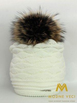 Dámska čiapka s bambuľou z pravej kožušinky - 3184