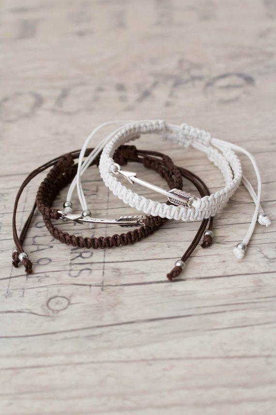 5c13121d4695f White and brown arrow bracelets Macrame bracelet Friendship bracelet ...
