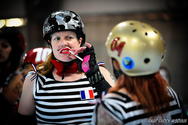 Uncertain the league (L.A. Derby Dolls, I think). Themed scrimmage: Frenchies vs. Rednecks. Amazing. Photo by Timothy Tolle.