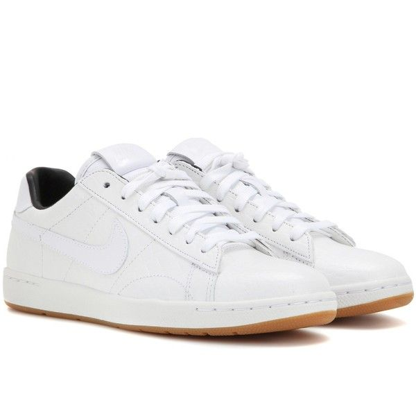 Nike Nike Tennis Classic Ultra Premium Leather Sneakers ($130) ❤ liked on Polyvore featuring shoes, sneakers, chaussures, nike, white, white leather sneakers, tenny shoes, leather trainers, white tennis shoes and white sneakers
