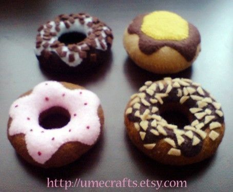 DIY Felt Doughnuts I - Patterns and Instructions via Email | umecrafts - Dolls & Miniatures on ArtFire