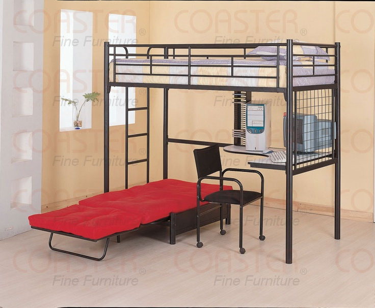 just ordered this for the twins, they are gunna LOVE it: Desks Chairs, Bunk Beds, Bedrooms Design, Black Metal, Futons Chairs, Small Rooms, Loft Beds, Bedrooms Ideas, Kids Rooms
