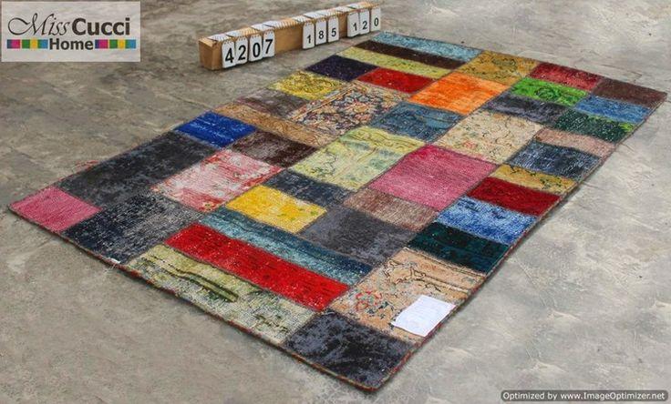 185x120 Handmade woolen patchwork carpet WoolenCarpet