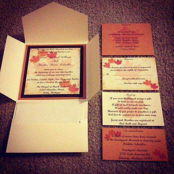 Homemade Wedding Invitations By Me!