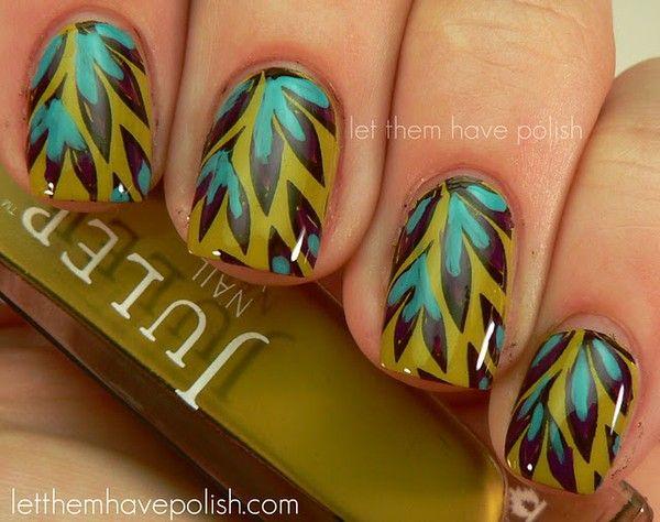 leafy nails: Nails Art, Nailart, Nails Design, Beautiful, Muffins Mondays, Pretty Nails, Leaves, Nail Art, Feathers Nails