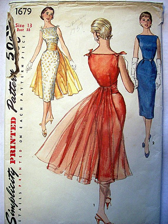 Vintage circa 1956 Simplicity Sewing Pattern 1579. Party/Cocktail Sheath Dress with detachable cummerbund - panel Size 13.