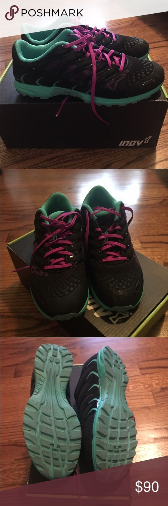 Inov 8 F lite 195 Cross training shoe. Black, teal and purple. Worn only once to the grocery store. Original box. Light weight. inov 8 Shoes Athletic Shoes