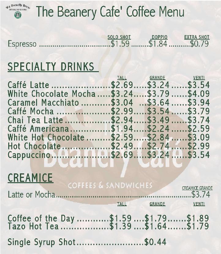 Starbucks Menu Prices