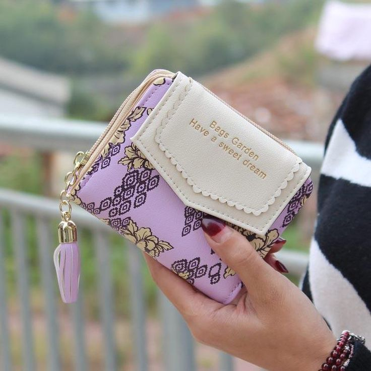 Vintage Women Floral Small Wallet Sweet Female Purses Bifold Flower Carteira Feminia Tassel Purse For Gift - 10 MINUS
