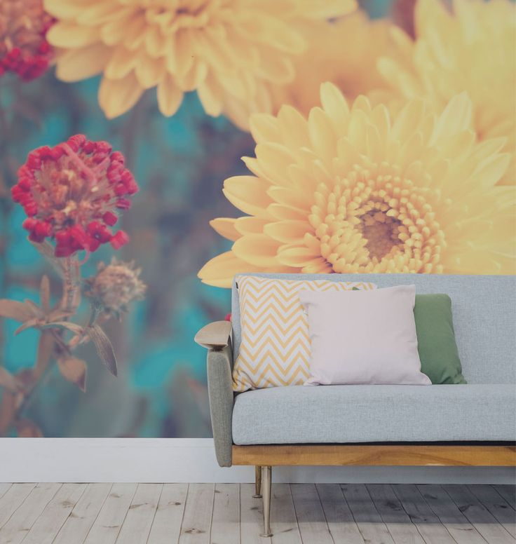 Vibrant Flowers Set Against A Perfectly Blue Sky, This Floral Wallpaper  Design Are Sure To Liven Up Any Dull Day. Part 82
