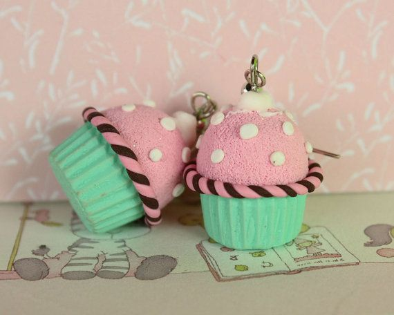 Polka dot pink n' mint cupcake earrings by TinkyPinky on Etsy