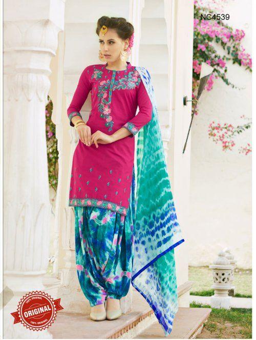 Pink & Blue Semi Cotton Patiala Suit