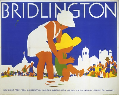 Bridlington LNER, East Coast . Vintage beach poster by Tom Purvis #essenzadiriviera organic olive oil skincare
