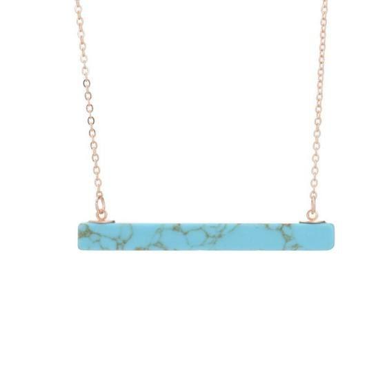 Howlite gem bar, marble look bar necklace, gem bar necklace, marble bar necklace