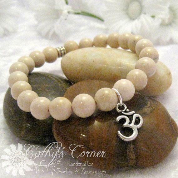 Stretch Bracelet with Riverstone Beads and by CathysCornerCrafts