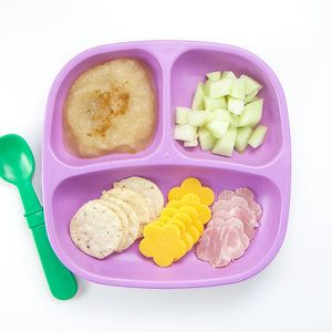 healthy lunchable cheese and crackers, just pear puree with a pinch of nutmeg and chopped honeydew melon. I used this veggie cutter to cut out the cheese and meat.