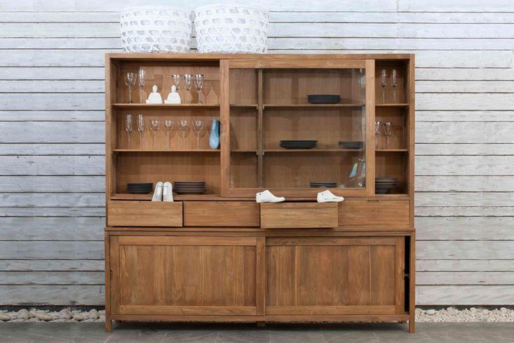 Credenze / Madie : ALINE01 vetrina legno teak 240