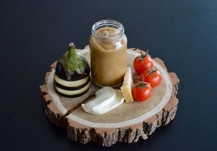 Recette de petit pot purée d'aubergine tomate mozzarella et parmesan pour bébé (Dès 6 mois)