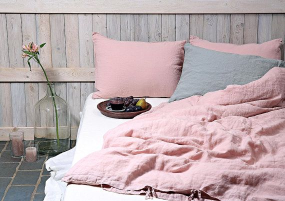 Flax duvet cover in dusty pink color. Stonewashed and by LinenSky