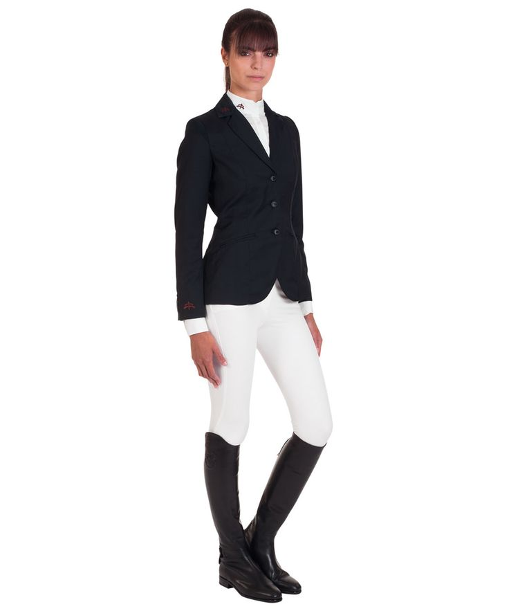 Ladies jacket horse riding model TIFFANY, 100% wool with insert in technical fabric. Best comfort of movements. Made in Italy.