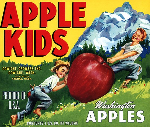 This fruit crate label was used on Apple Kids, c. 1950s via Vintagraph.