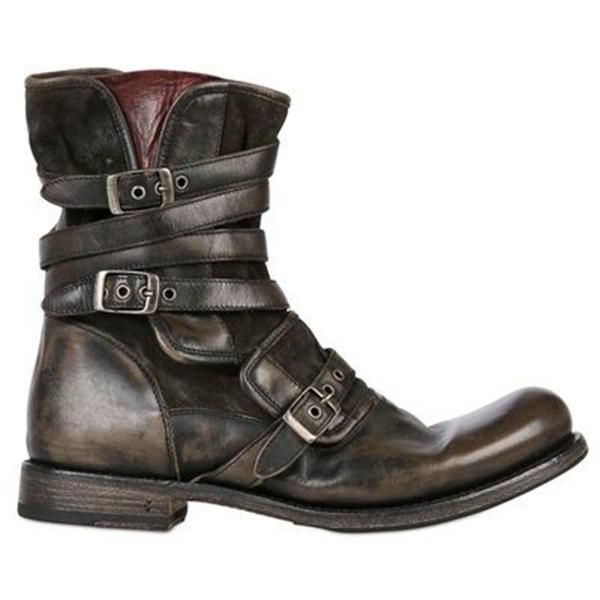 Men S Retro Multiple Buckle Retro Ankle Boots Willbuyone Mens