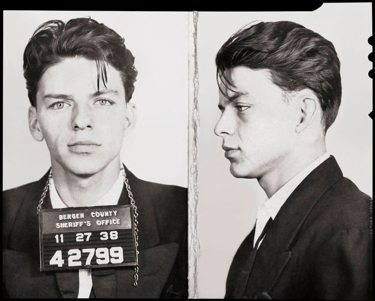 Frank Sinatra mugshot, 1938. Arrested for flirting in Bergen County, New Jersey aged 23