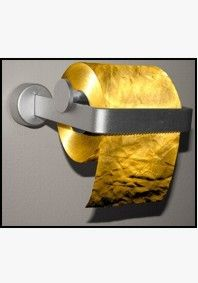 Toilet Paper Man 22 Carat Gold Toilet Paper/Toilet Tissue.  Delivered with a bottle of champagne!  #gold