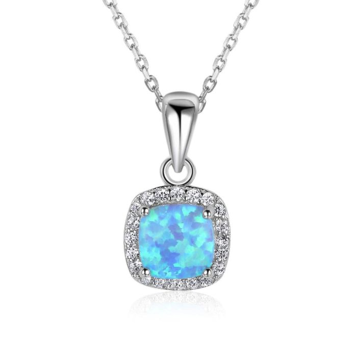 Post Included Aus Wide and to most international countries! >>> Square Halo Blue Opal Necklace - 925 Sterling Silver