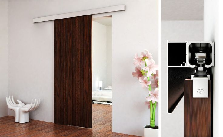 Ensemble de style contemporain pour une porte coulissante suspendue en bois (système d'amortissement intégré) - Quincaillerie Richelieu