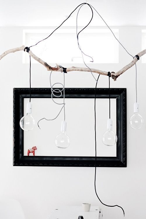 hanging light fitting / existing lamps on cords / found branch / Anna-Malin Lindgren / decor8
